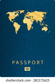 vector blue biometric leather cover passport