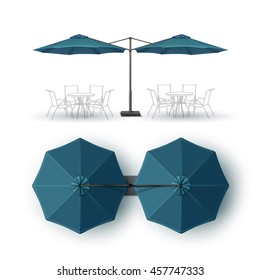 Vector Blue Blank Patio Double Outdoor Beach Cafe Bar Pub Lounge Restaurant Round Umbrella Parasol for Branding Top Side View Mock up Close Isolated on White Background