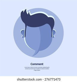 Vector blue blank speech bubble and head shape with hipster hairstyle. May use as comment, status icon or social media banner template. Flat style.