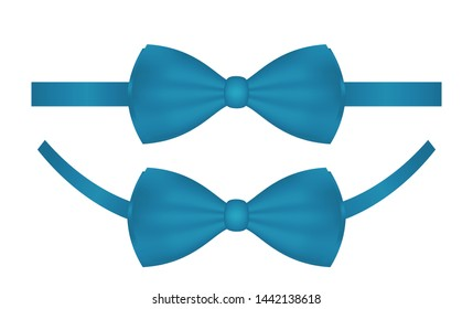Vector blue bow ties isolated on white background