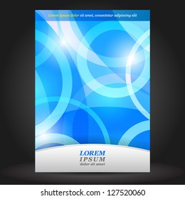 Vector blue brochure cover design with round elements. EPS 10