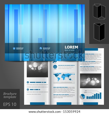 vector blue brochure template design vertical stock vector royalty