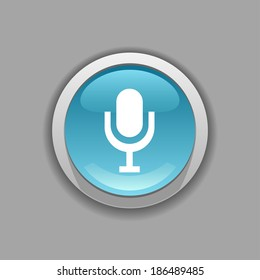 Vector blue button with microphone