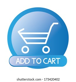 Vector Blue Button For On line Shopping Isolated