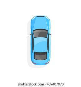 Vector blue car. Top view