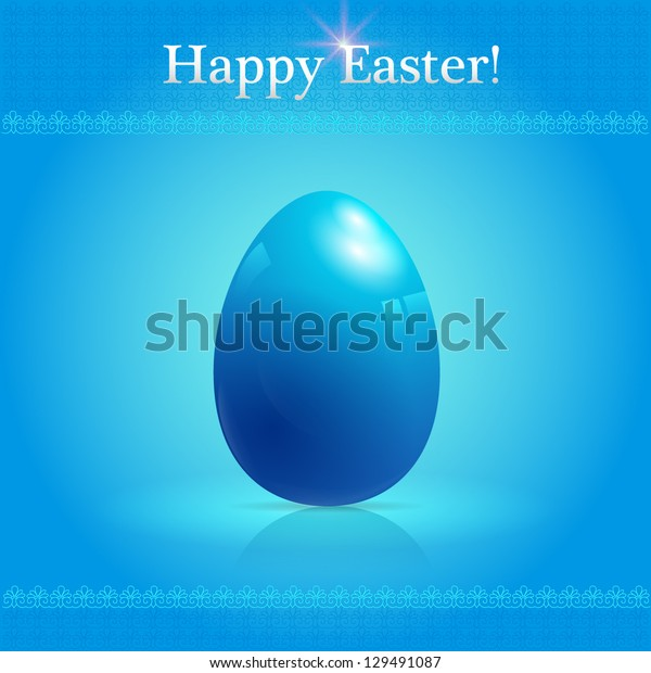 Vector  blue card with glossy easter egg.