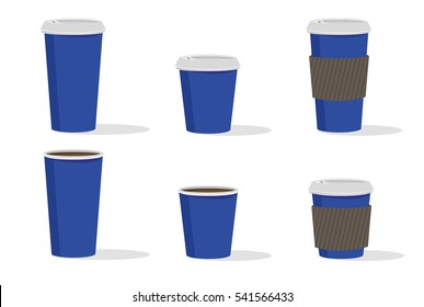 Vector Blue Cardboard hot drinks cup set