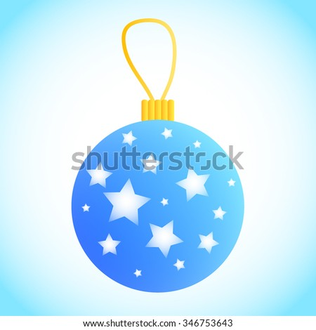 vector blue christmas ornament decorated with stars and loop on top shiny xmas bauble - Light Blue Christmas Ornaments