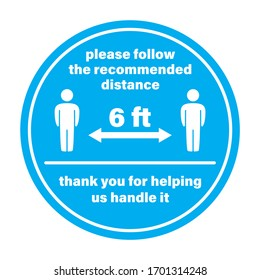 Vector blue circle sticker keep a distance of 6 ft. Isolated on white background.