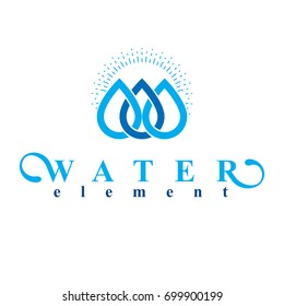 Vector blue clear water drop logo for use as business emblem in spa and resort organizations.