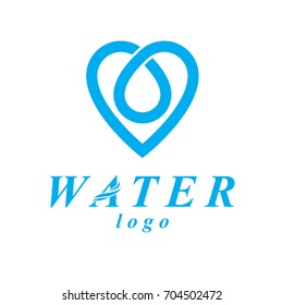 Vector blue clear water drop logotype for use as marketing design symbol. Alternative medicine concept.