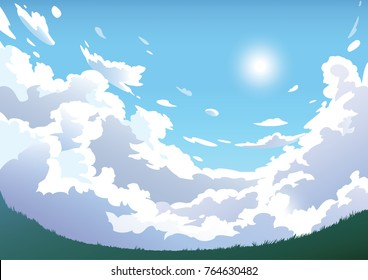Vector blue cloudy sky with grass scenery. Anime clean style. Background design