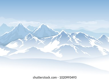 Vector blue cold misty mountains with snow and clouds in the sky