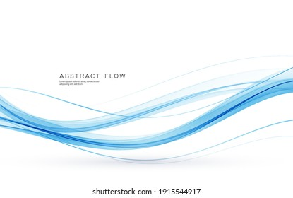 Vector blue color abstract wave design element