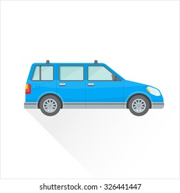 vector blue color flat design four-door station wagon body type vehicle illustration isolated white background long shadow