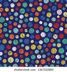 Vector blue colorful polka dots texture repeat pattern. Suitable for gift wrap, textile and wallpaper. Surface pattern design.