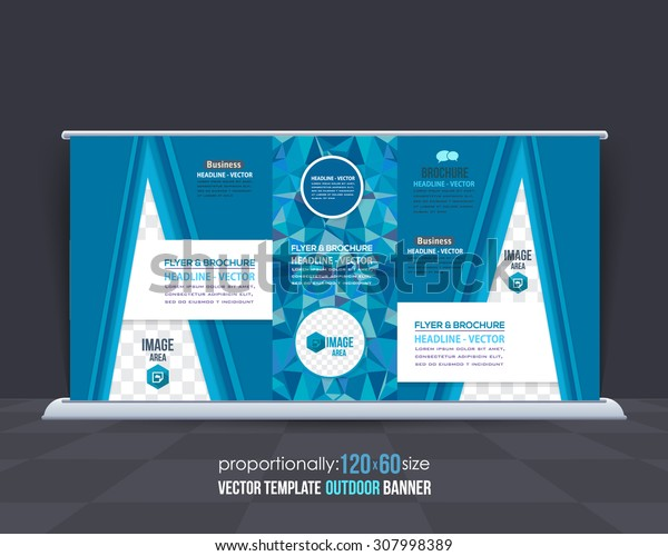 Vector Blue Colors Geometric Elements Outdoor Advertising Design, Horizontal Banner, Background Template