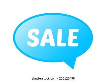 vector blue comics rounded bubble with sale sign