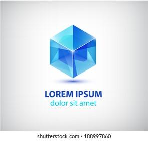 vector blue crystal cube icon, logo isolated. 3d geometric shape
