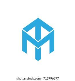 Vector Blue Cube Initial M T Logo
