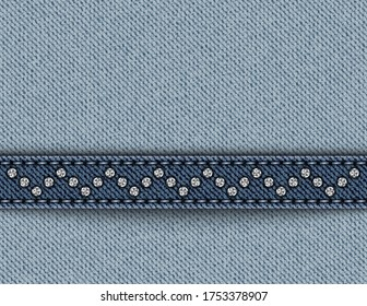 Vector blue denim with horizontal stripe with stitches and sequin zig-zag.