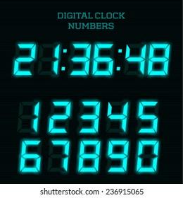 Vector blue digital clock numbers.