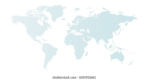 Vector blue dotted world map isolated on white background.