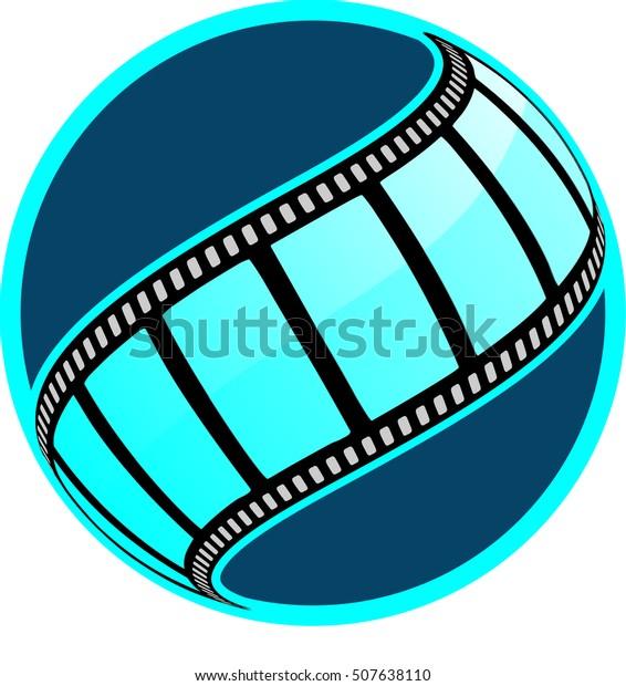 vector blue film clip icon
