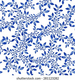 Vector blue floral watercolor texture pattern.Watercolor floral pattern.Blue flowers pattern.Seamless pattern can be used for wallpaper,pattern fills,web page background,surface textures