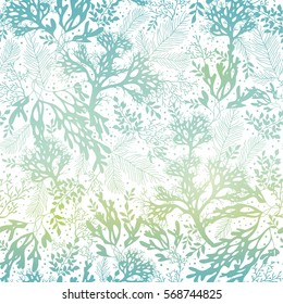 Vector Blue Freen Seaweed Texture Seamless Pattern Background. Great for elegant gray fabric, cards, wedding invitations, wallpaper.