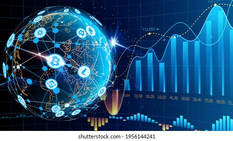 Vector. Blue futuristic background. Bitcoin and blockchain. Electronic cryptocurrency and modern technology. Online banking, and financial communications. World wide web. Hologram. Planet Earth.
