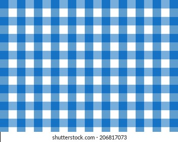 Vector Blue Gingham fabric texture (for a traditional tablecloth, curtains, plaid, etc.)