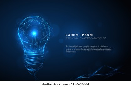 Vector blue glowing light bulb made of polygonal lines on dark background - innovation, technology, creativity