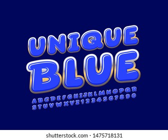 Vector Blue and Gold Uppercase Font. Rotated glossy Alphabet Letters and Numbers.