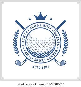 Vector blue golf club logo on white background