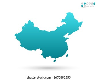 Vector blue gradient of China map on white background. Organized in layers for easy editing.