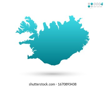 Vector blue gradient of Iceland map on white background. Organized in layers for easy editing.