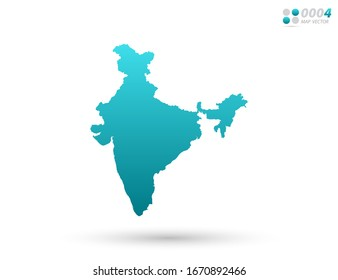 Vector blue gradient of India map on white background. Organized in layers for easy editing.
