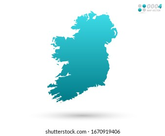 Vector blue gradient of Ireland map on white background. Organized in layers for easy editing.