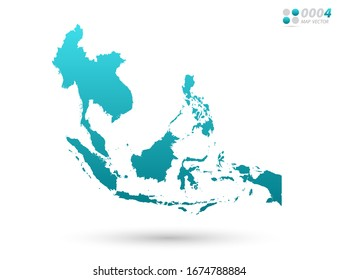 Vector blue gradient of Southeast Asia map on white background. Organized in layers for easy editing.