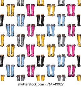 Vector blue, gray, pink, black, yellow wellies illustration. Seamless pattern in watercolor style. Background for decoration seasonal celebration, fabrics, textile, greeting card and web banner.