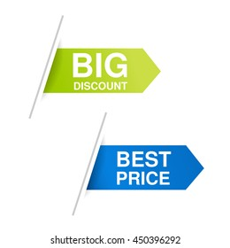Vector blue and green advertising labels. Arrow stickers inserted under the white paper page. Offer - Big discount and Best price.