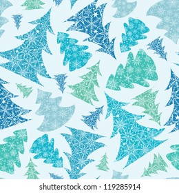 Vector Blue and Green Snowflakes Textured Christmas Trees seamless Pattern Background
