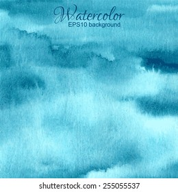 Vector blue green turquoise abstract hand drawn watercolor background.