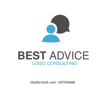 Vector blue grey brand for consulting agency, best advice. Logo design with symbol of speech bubble and man.