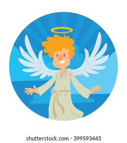 Vector blue heaven round frame. Heaven frame with cartoon image of a little male angel. Little male angel with blond hair in a white chasuble. Angel with big white wings and golden halo over head.