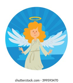 Vector blue heaven round frame. Heaven frame with cartoon image of a little female angel. Little female angel with blond hair in a white chasuble. Angel with big white wings and golden halo over head.