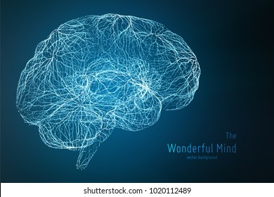 Vector blue illustration of 3d brain side with synapses and glowing neurons. Conceptual image of idea birth or artificial intelligence. Net of shiny lines forms brain structure. Futuristic mind scan.