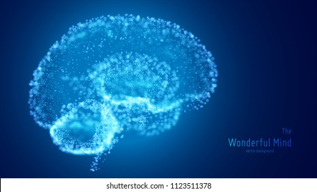 Vector blue illustration of 3d brain with glowing neurons and shallow depth of field. Conceptual image of idea birth or artificial intelligence. Shiny dots forms brain structure. Futuristic mind scan