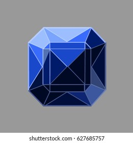Vector blue jewel on the gray background